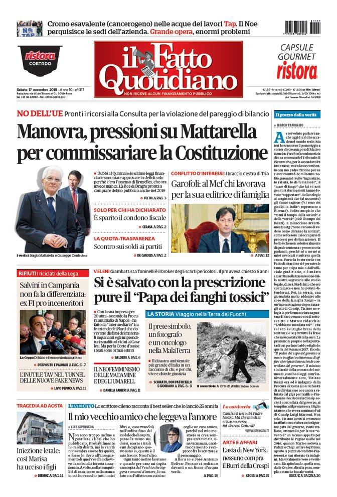 IL #FATTOQUOTIDIANO IN #EDICOLA OGGI #17NOVEMBRE Manovra, pressioni su Mattarella per commissariare la Costituzione  LEGGI: https://t.co/NgW5zFXjpg
