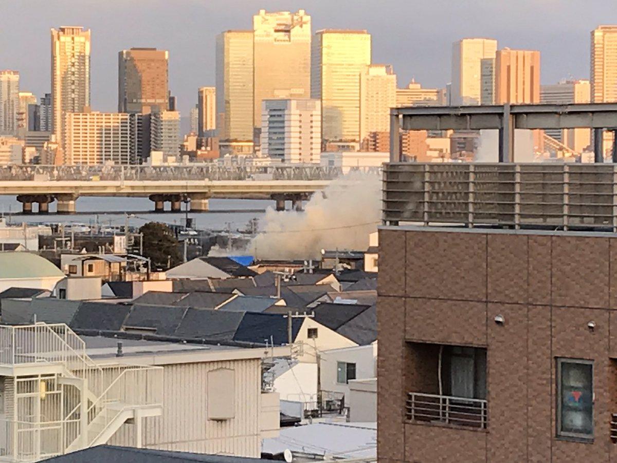 大阪市西淀川区花川で火事の現場画像