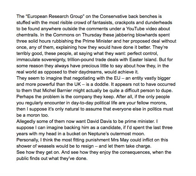 Considered reflections on a small faction of the Conservative party, from today's Daily Telegraph https://t.co/SoXe6bnG5J