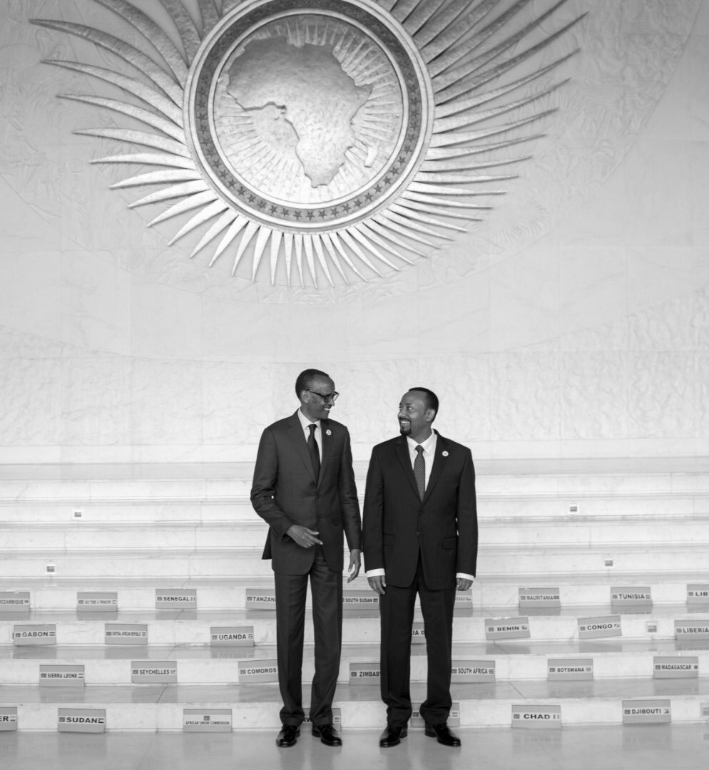 President Kagame and @PMEthiopia Ahmed Abiy at the #AUSummit on #AUReforms