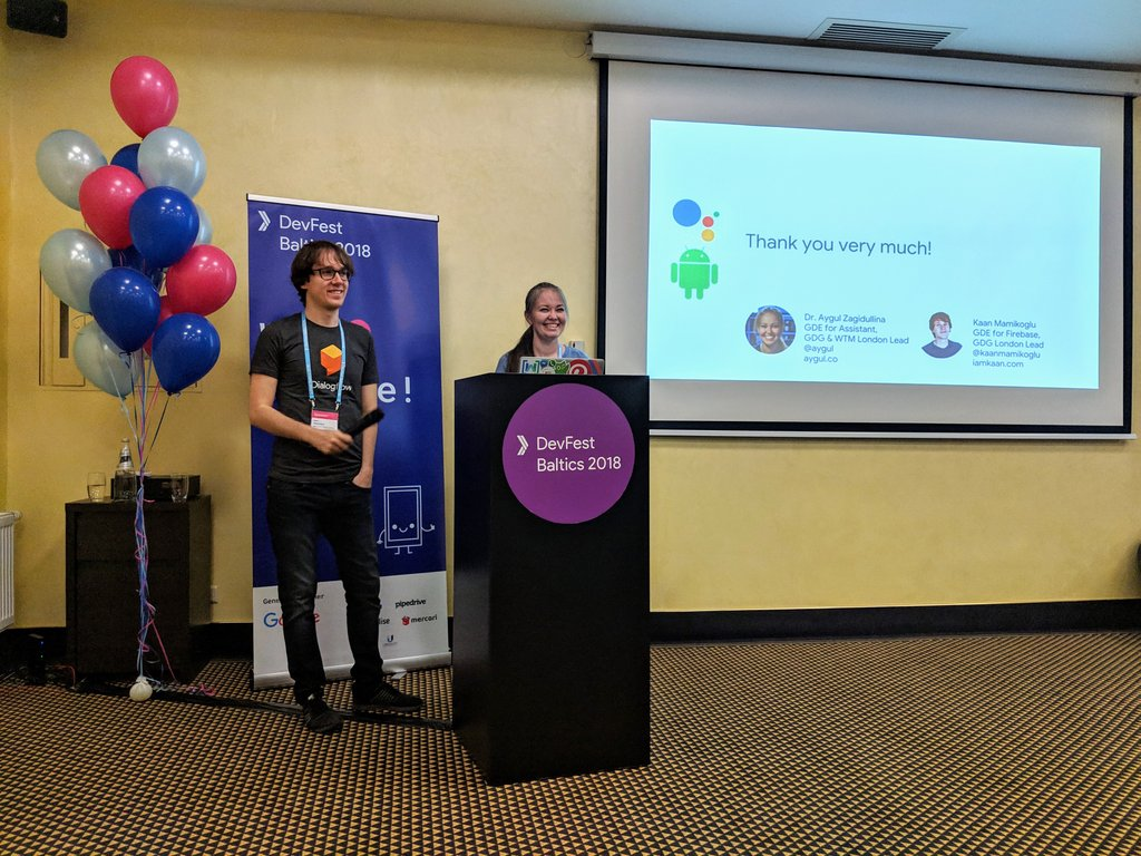 It was an amazing experience giving a talk together with @aygul for the first time 🎤😍 We talked about integrating @Android apps with @ActionsOnGoogle 💪 And @DevFestBaltics was truly perfect 👏 #DevFest18 #AndroidDev #AoGDevs
