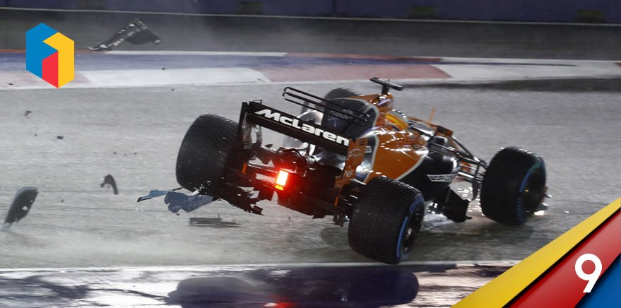 Fernando's unforgettable McLaren moment #9 features the 2017 #SingaporeGP, where an incredible start saw the Spaniard charge up to third before being heavily collected by the stricken cars of Kimi and Max. #GraciasFernando