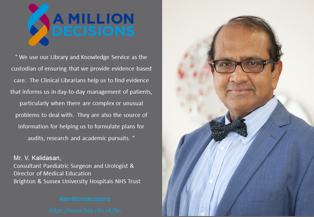 'We use our #library &  ser#knowledgevice as the custodian of ensuring that we provide evidence-based care.' Mr V Kalidasan  #Amilliondecisionshttps://t.co/WbuVhnqRHL