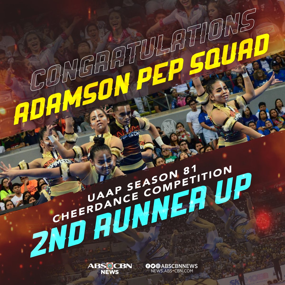 Congratulations! Adamson Pep Squad bagged the bronze medal at the #UAAPCDC2018 #OrangeIsTheNewBlue.