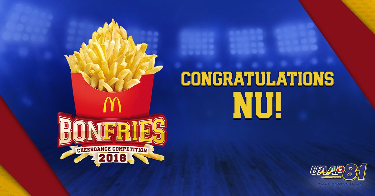 What a sweep! Congratulations to  NU for being this year's #UAAPCDC2018 Champion and #McDoBonFries winner! Your school will now get FREE FRIES! #UAAPSeason81