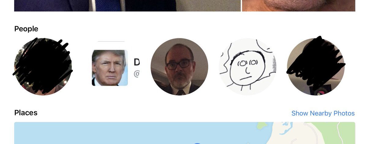 Signs you need to get a life. iOS identifies these five facial patterns showing up frequently in images on my iPad. Two sons, me, Trump and model dignity wraith.