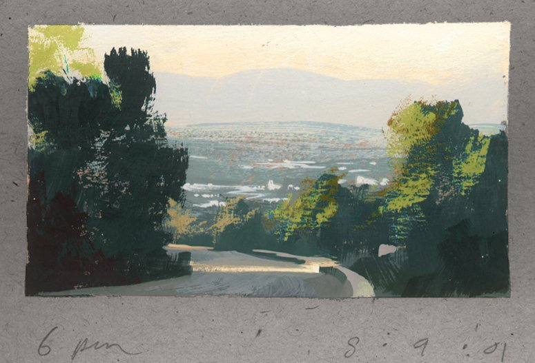 Pulled over and did this sketch from the Hollywood Hills looking down into LA. From one of my sketchbooks a while back. <br>http://pic.twitter.com/qJDLpILU2r