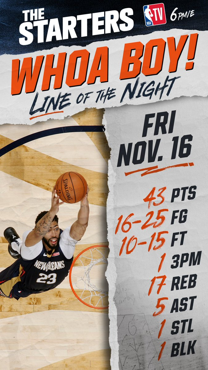Kyrie or AD? AD or Kyrie? **flips coin** @PelicansNBA @AntDavis23 wins Fridays #WhoaBoy of the Night! #doitBIG #TheStarters