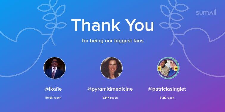 Our biggest fans this week: @lkafle, @pyramidmedicine, @patriciasinglet. Thank you! via https://t.co/XpuXtN8U2O https://t.co/LVX2D9yoJc