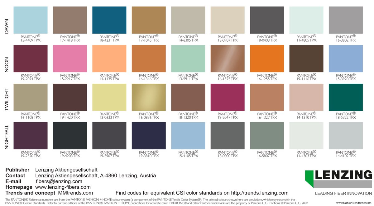 Fall 2020 Color Trends.Fashion Trendsetter On Twitter Lenzing Color Trends Autumn