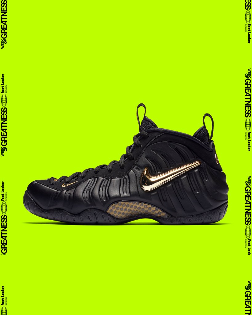 e25e23c4ca763  footlocker 5 months. gold crush nike air foamposite pro black gold  available in store and online