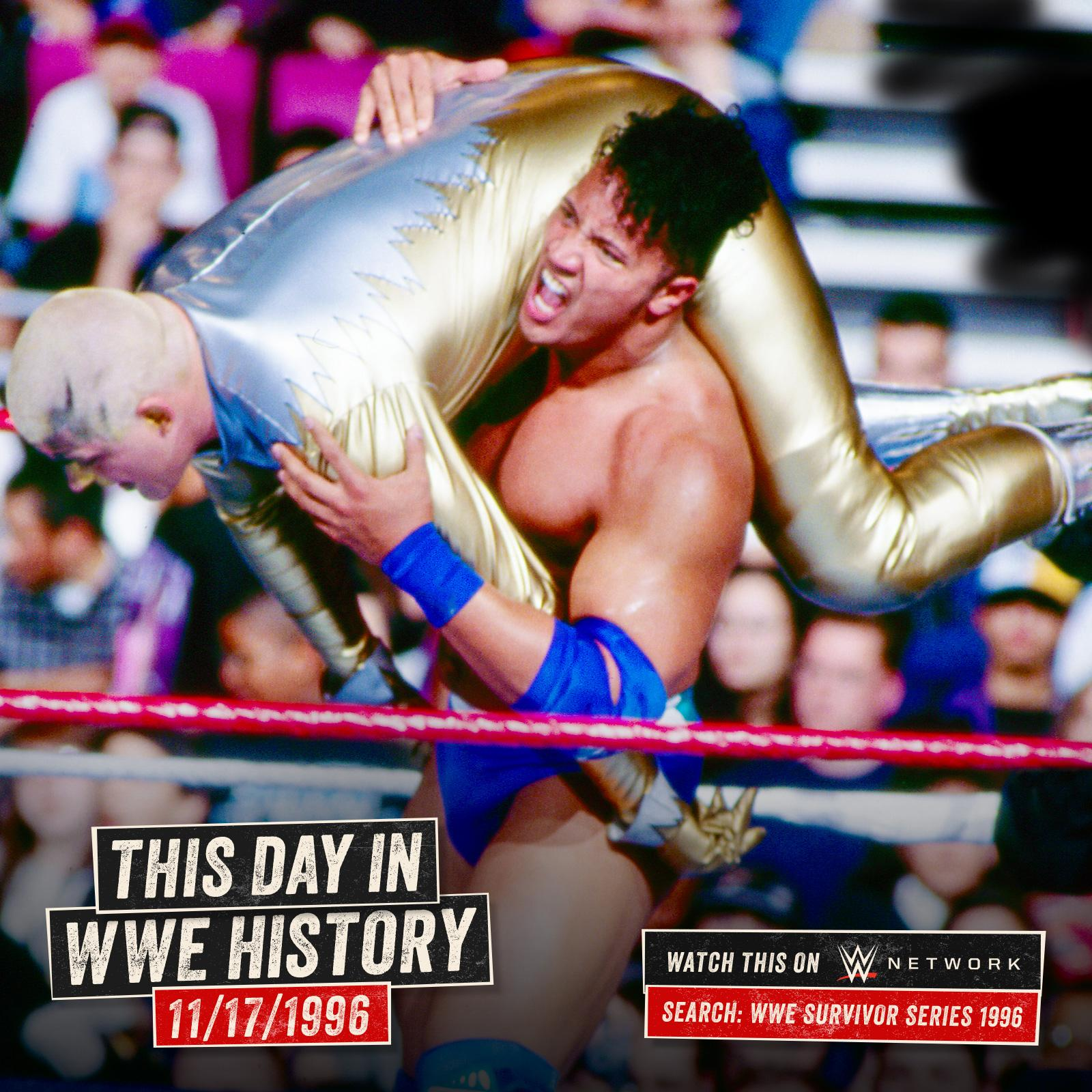 .@TheRock made his @WWE debut on this day in 1996 in @TheGarden at #SurvivorSeries! https://t.co/XuH39XIHQK https://t.co/KK8YRC299I