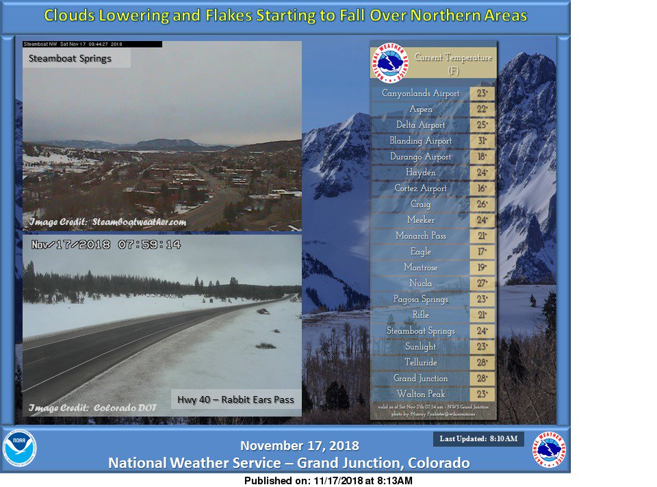 #Cold morning. Increasing clouds and light #snow beginning to fall along and north of Hwy 40 corridor. #utwx #cowx