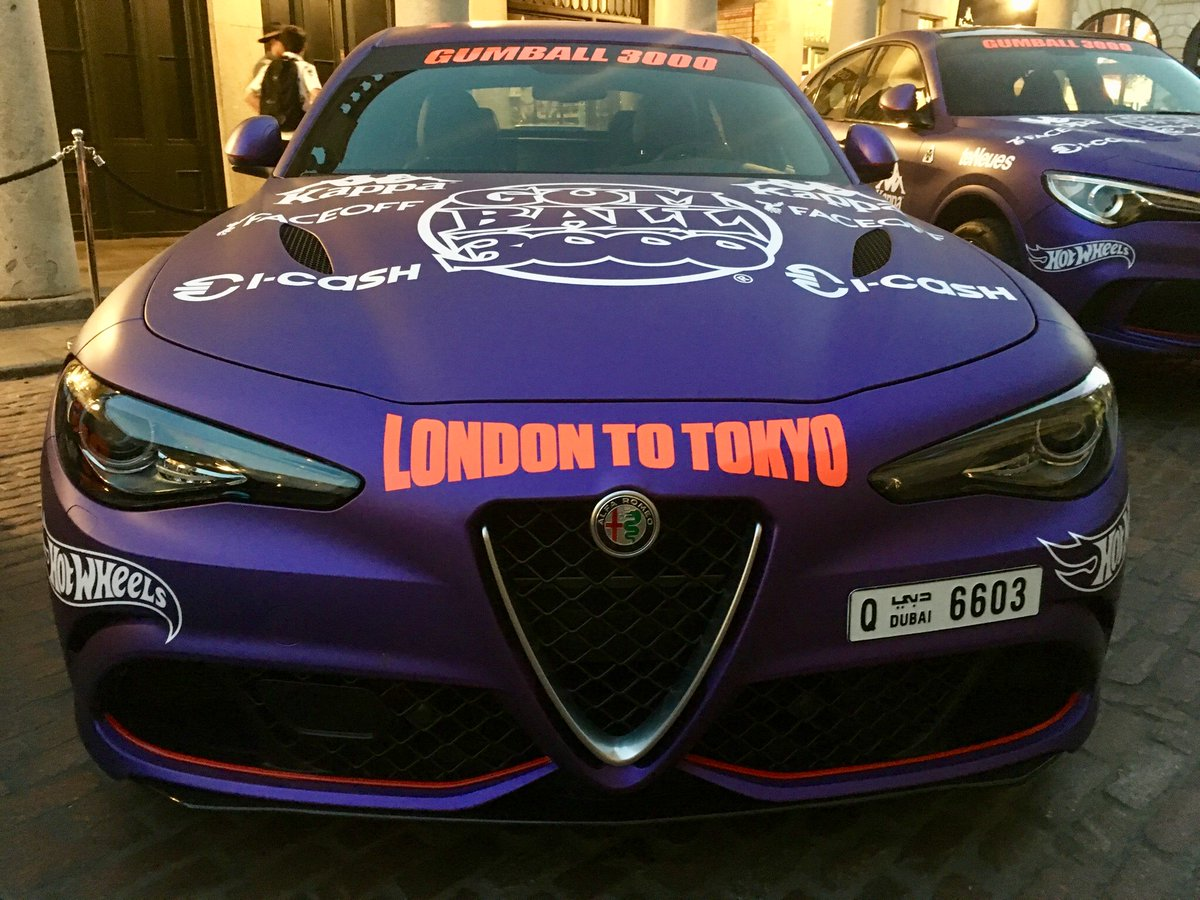 Team Alfa Giulia Quadrifoglio!! @GargashMotors @alfa @ShehabMrG @gumball3000 #gumball3000 #gumballlife #teamalfa #giulia #quadrifoglio #purplization #londontotokyo #20thanniversary