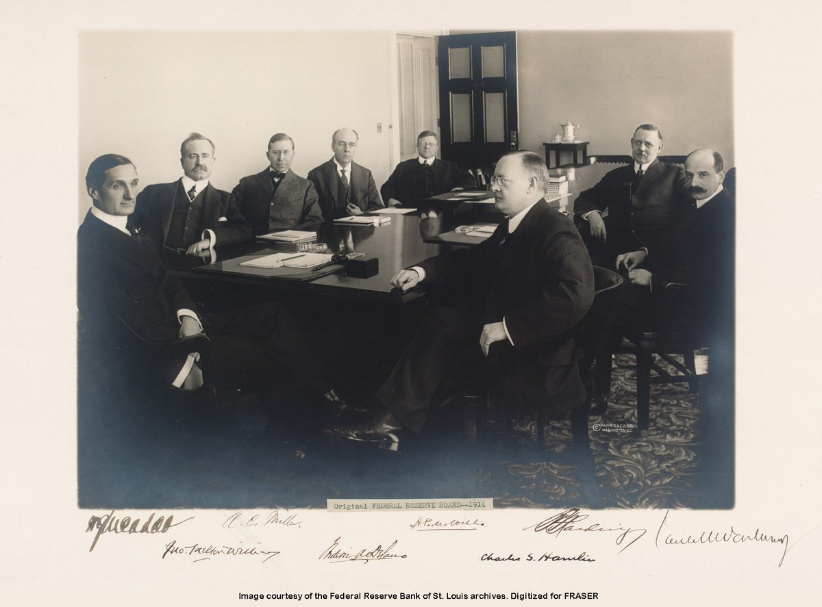 A 1914 photo of the Federal Reserve Board, now called the Board of Governors ow.ly/ZgnK30mr0ym