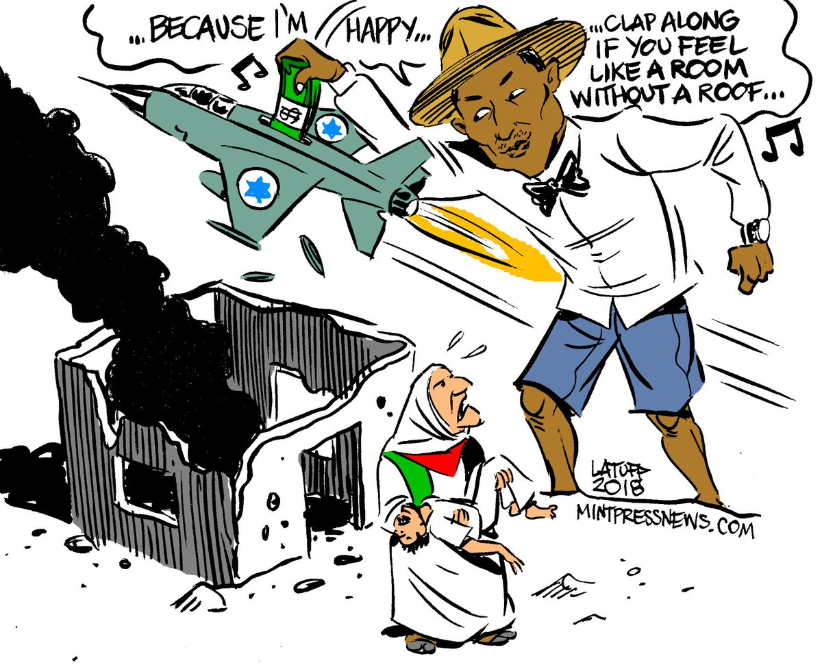 Dear @Pharrell Williams. Palestinians in #Gaza can&#39;t clap along. They live in a room without a roof. Sometimes no room is left. They have been killed by the bombs of #Israel forces you are fundraising for. Are you happy? @MintPressNews<br>http://pic.twitter.com/qmAhRCt1Tj