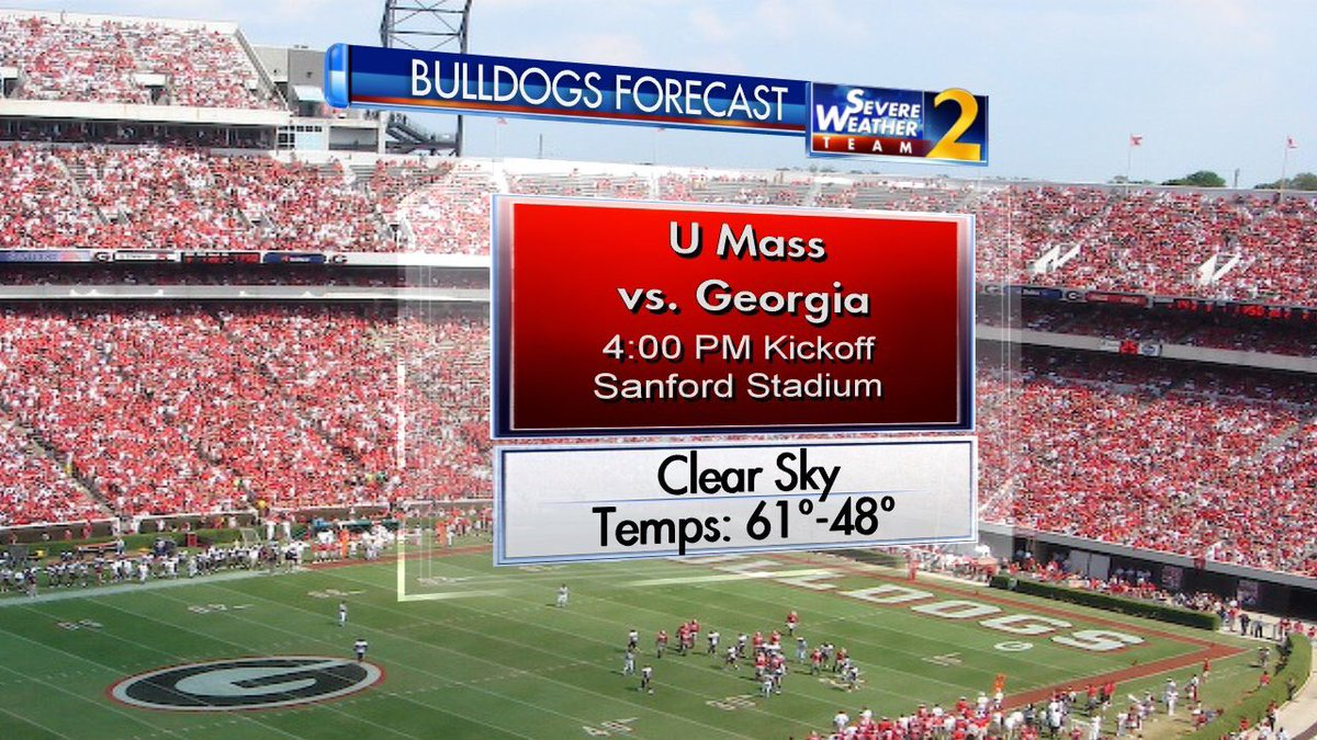 Dear Annoyed Tech Fan Wondering Why I'm Doing A Live Sideline Forecast For UGA: My policy is to provide these for top 5 ranked teams, or teams that invite me. Thanks for checking off both @UGAAthletics. With love, Brad 😘 (If @GTAthletics asks I'll be happy to.)