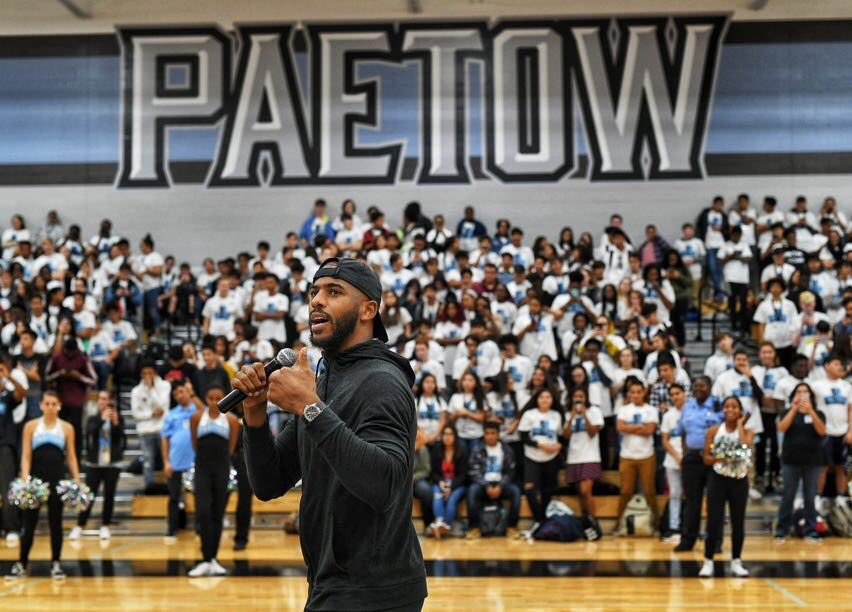 Man what a pep rally we had yesterday at Paetow!! The energy was unreal!!! Shoutout to the @Jumpman23 fam that helped make all of this happen! #CP3XI #ComingToAmerica #ChildhoodMemories
