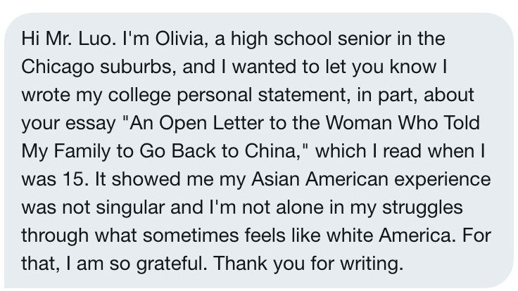 Got this in my Twitter DMs last night. Two years on, it's still amazing how far that little piece travelled and the impact it made. Good luck Olivia! https://t.co/UoHfhOapYk