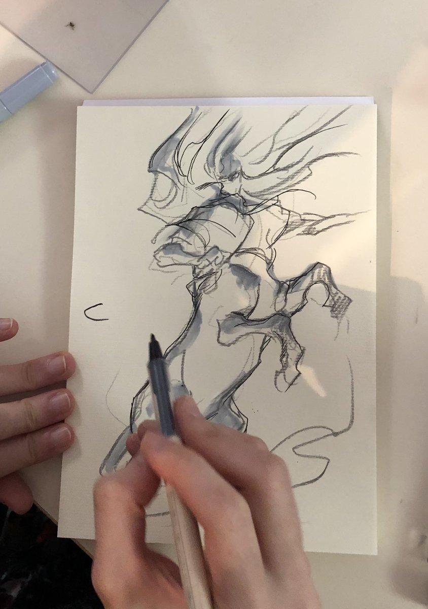 【フランス訪問記12】途中で町の本屋さんに行き、描き心地の良いスケッチブックを手に入れた墨佳さん、筆が乗りまくり!#人馬