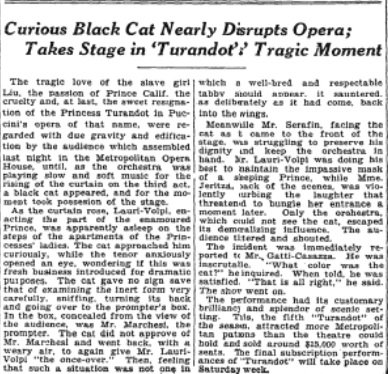 In 1926, a curious black cat nearly disrupted a performance of Turandot at the Metropolitan Opera when he took the stage and sniffed the tenor Giacomo Lauri-Volpi. nyti.ms/2DDpAqW #caturday