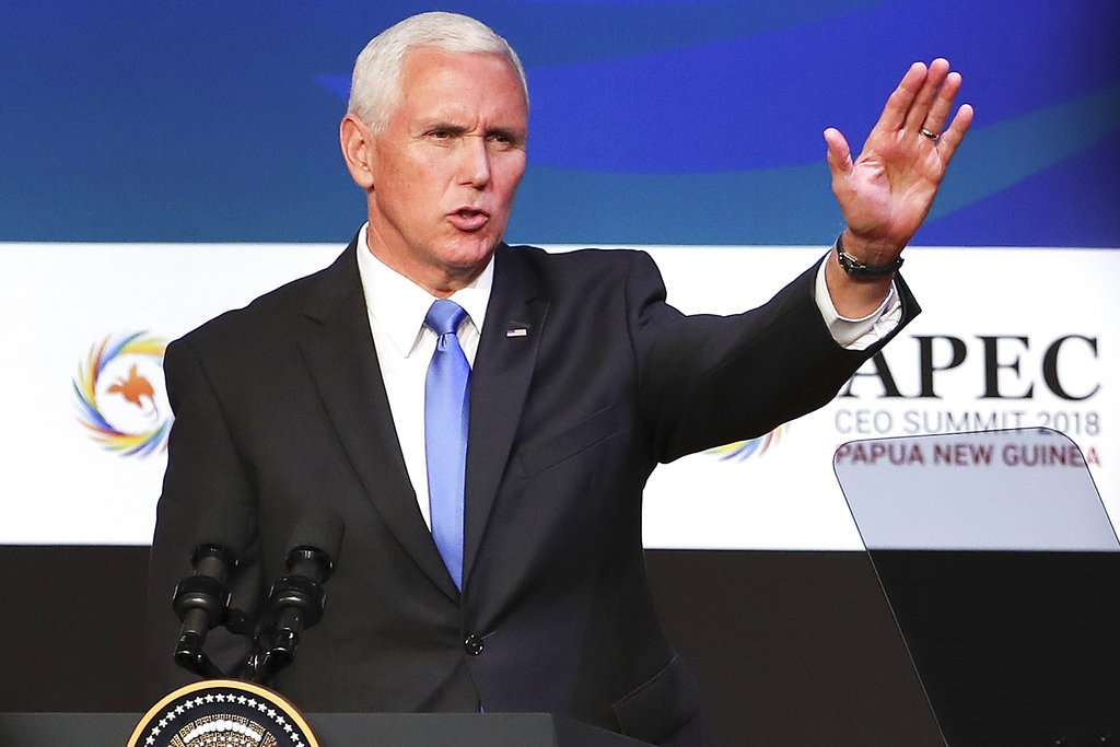 VP Pence: U.S. willing to double tariffs on China if fair trade deal is not made -  https://www. oann.com/vp-pence-u-s-w illing-to-double-tariffs-on-china-if-fair-trade-deal-is-not-made/ &nbsp; …  #OANN<br>http://pic.twitter.com/iM0hSwgkew