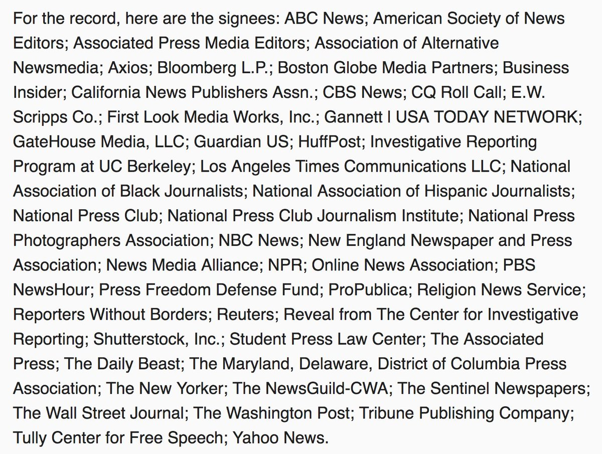 I'd tweeted earlier about White House reporters needing to hang together, or else they'll hang apart. Well — they're hanging together. What an amazing list supporting CNN and @Acosta's legal fight: