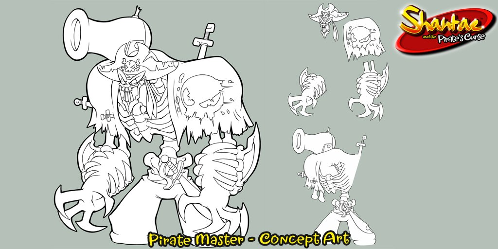 This concept image of the vile Pirate Master from Shantae and the Pirate&#39;s Curse shows how his elements are separated for 3D display on Nintendo 3DS. With a cannon on his shoulder and blades embedded into his body, he is one intimidating foe! #WayForwardSpotlight<br>http://pic.twitter.com/i74KgVFwlS