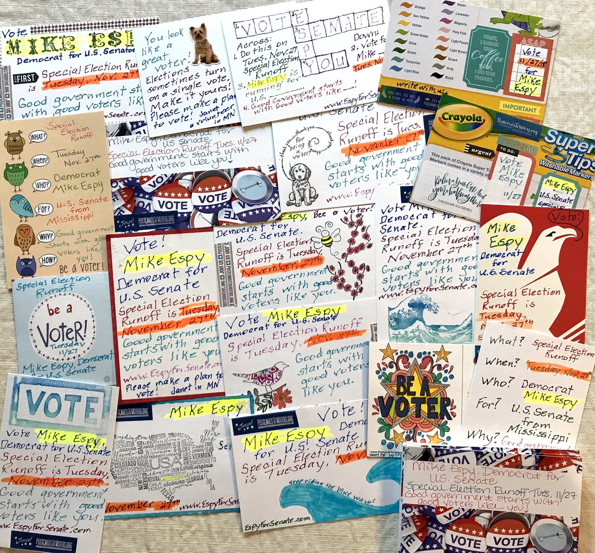 I tried to have plenty of examples for my new writing friends yesterday. A variety of cards to encourage voters to go to the polls on Nov. 27th and vote for Mike Espy in Mississippi #PostCardstoVoters #Espy4Senate #BeAVoter <br>http://pic.twitter.com/1DGuKrACqn