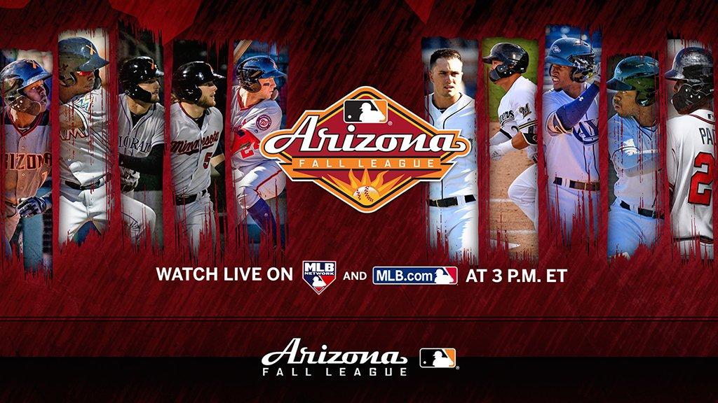 Watch todays @MLBazFallLeague title game live on @MLBNetwork & on @MLB.com at 3 pm ET. Lineups: atmlb.com/2DJZKl8 Preview: atmlb.com/2FscGxG Stream: atmlb.com/2FrOtYd #Dbacks #Marlins #MNTwins #Nats #Rockies vs. #Braves #Brewers #Mariners #Padres #Rays