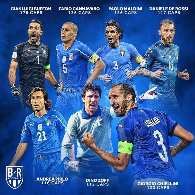 14 years since his Italy debut, @chiellini is capped for the 100th time. He's in good company 🇮🇹💯 Photo
