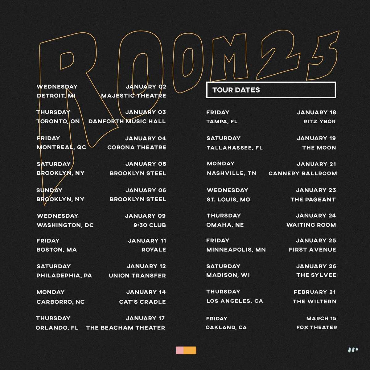 Really excited for this Room 25 tour! Tickets available @ nonamehiding.com