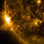 Image for the Tweet beginning: Powerful solar storm likely detonated