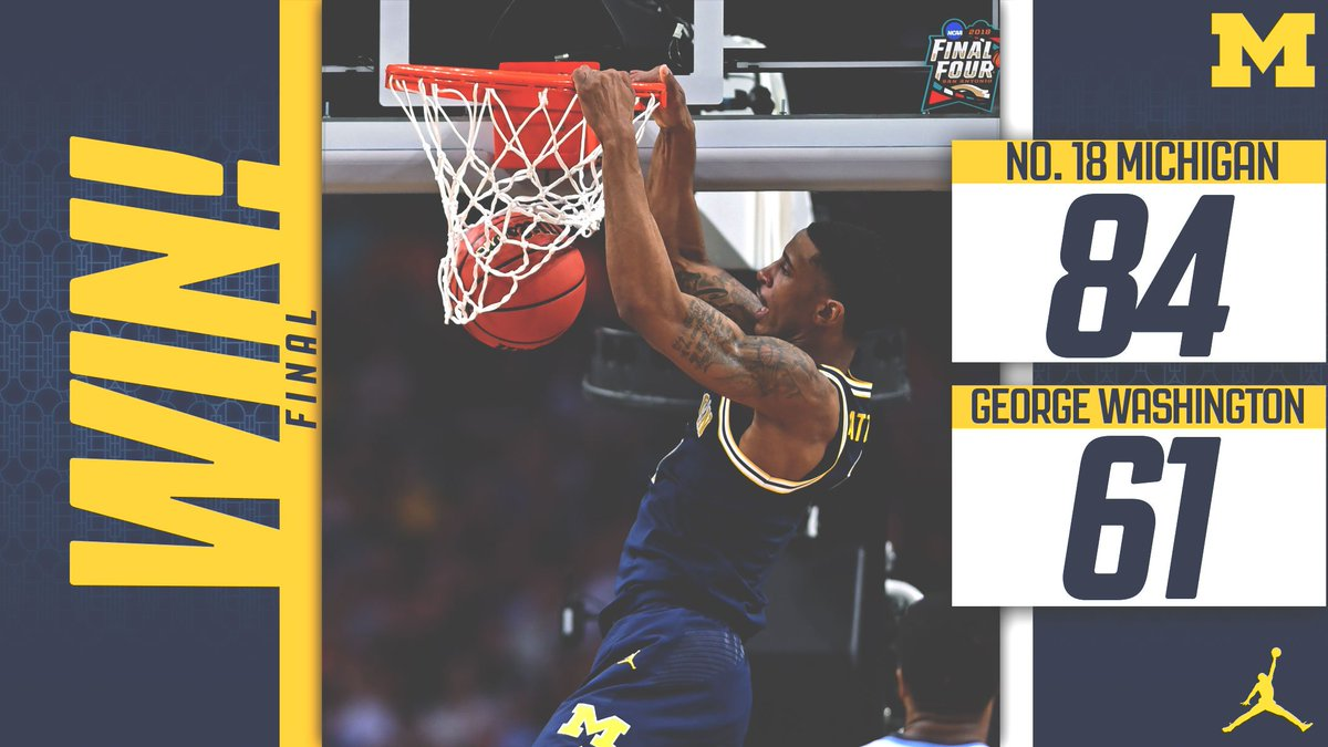 FINAL: No. 18 Michigan 84, George Washington 61 @1CMatthews scores 25, Poole adds 22 and @Xaviersimpson3 records a double-double, while the team had 14 3-pointers! #HOFTipOff #GoBlue 〽️🏀