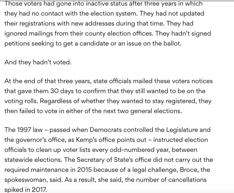 1 cont) This law was passed in 1997 by A Dem legislature and a Dem Governor in Georgia. Similar laws have been upheld by SCOTUS.  It requires the rolls to be updated by removing voters that have not voted for some time and do not respond to contact from the state. For GA: <br>http://pic.twitter.com/FoM3xc8RhQ