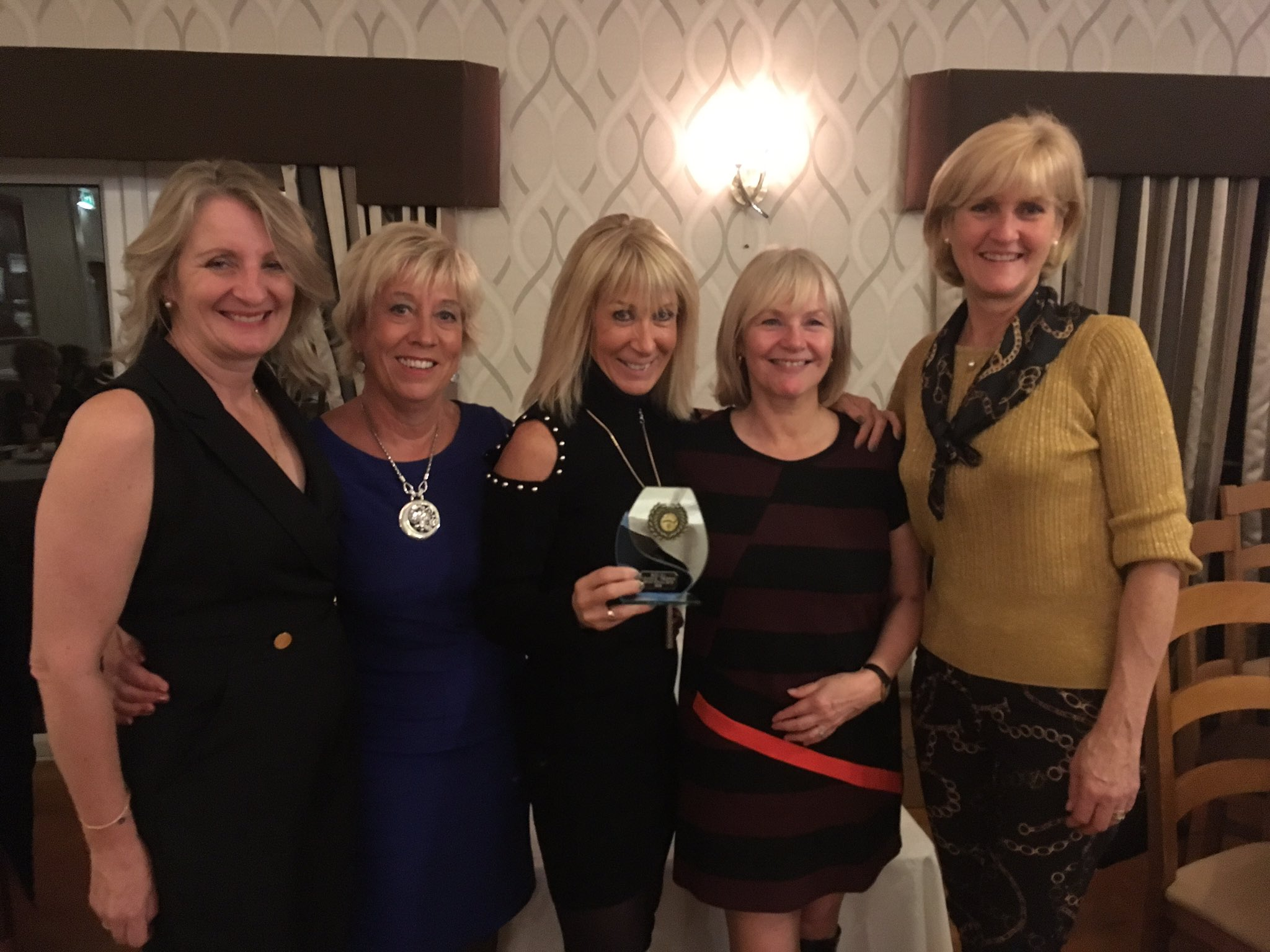 The Evening League ladies receiving their semi finalists trophy at the presentation and dinner held at The Manor https://t.co/lval7Vo0b2