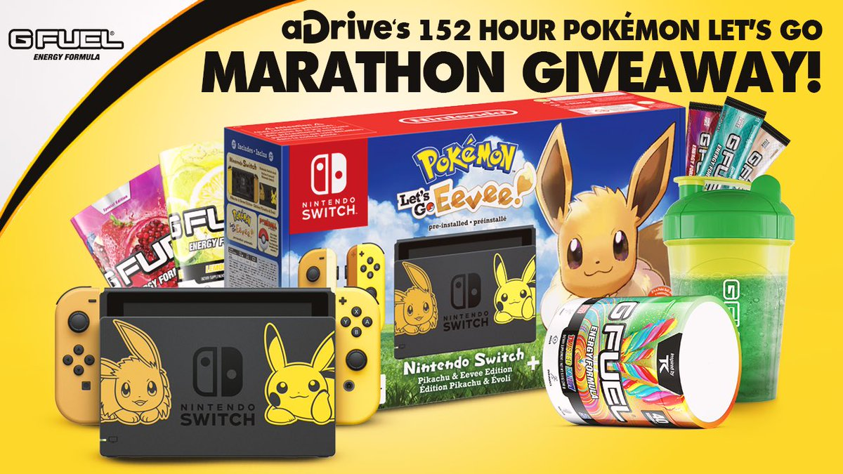 The giveaway we&#39;re doing with @GFuelEnergy for the 152 marathon is insane!  You can win a switch AND a entire year supply of GFuel!     https:// gleam.io/pcBfh/adrives- 152-hour-pokmon-lets-go-marathon-g-fuel-giveaway &nbsp; … <br>http://pic.twitter.com/bDwbtqg1F6