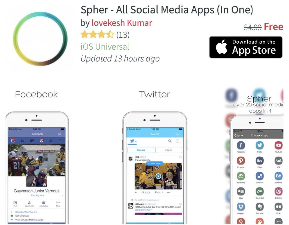 تحميل تطبيق Spher - All Social Media Apps المدفوع مجانا للايفون