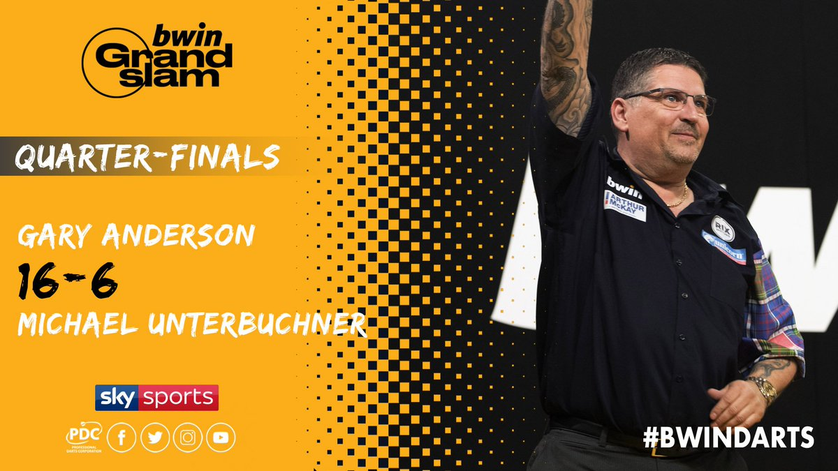 WINNER! Gary Anderson beats Michael Unterbuchner to reach the Semi-Finals of the @bwin Grand Slam of Darts for the sixth time! #bwinDarts