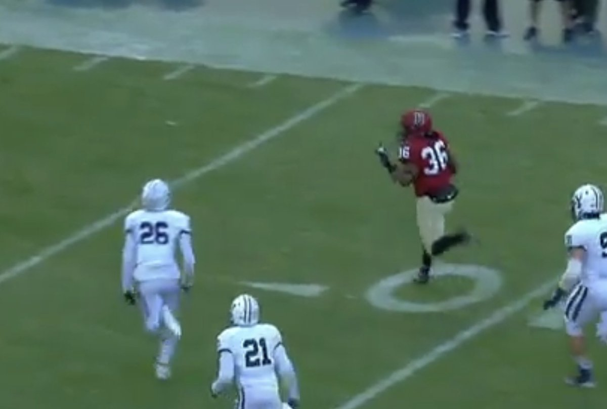 Harvard TD got called back for taunting after the RB gave the defense the finger