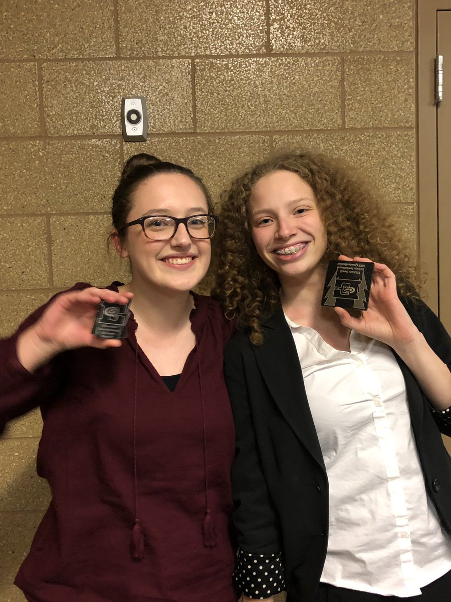 At Elkhorn South, Tessa and Malerie were quarter-finalists in novice public forum debate, and Malerie was second-place speaker!  She even got a perfect 30 in one round.  Good job, Crusader debaters!
