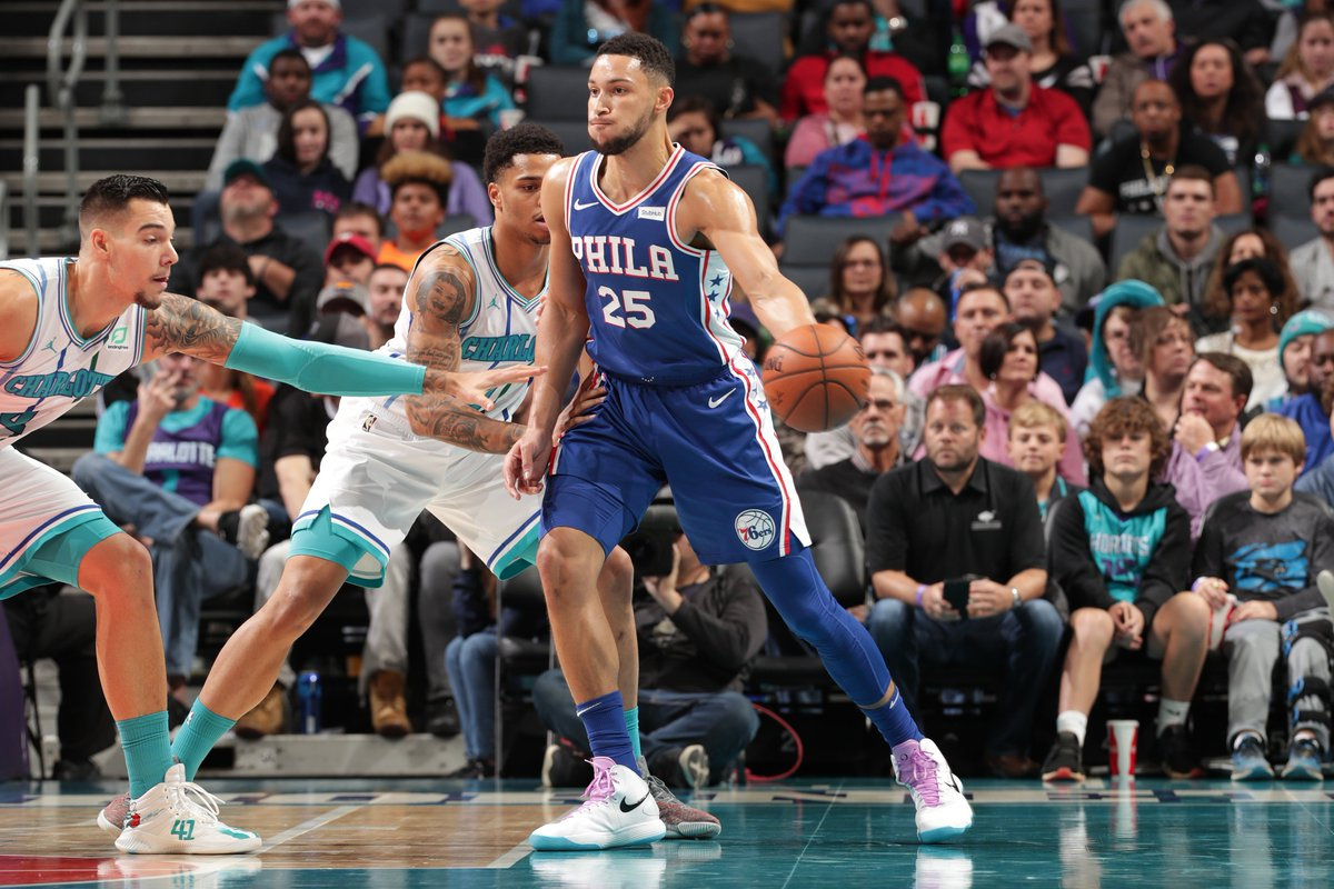 #TripleDoubleWatch for Ben Simmons at the half with 10 PTS, 9 REB, 7 AST! #HereTheyCome 63 #Hornets30 56 Joel Embiid: 23 PTS JJ Redick: 13 PTS, 3 3PM