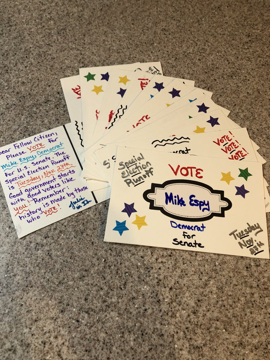 Just finished a few more. Your vote = your voice!  #PostcardstoVoters #EspyforSenate<br>http://pic.twitter.com/k3IoPg8LJc