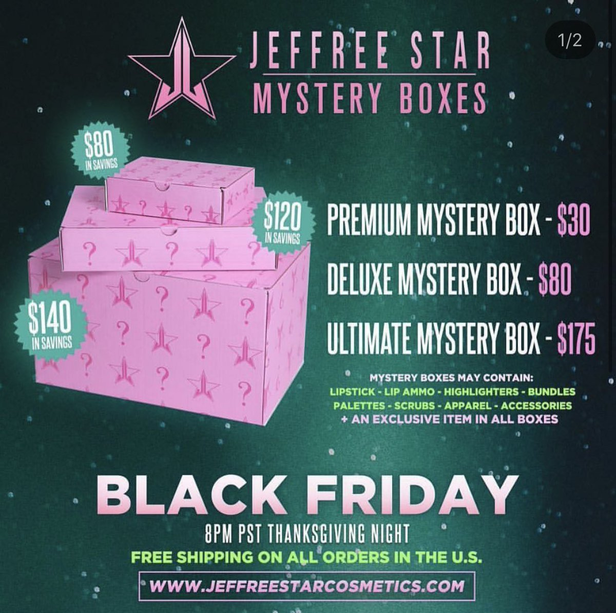 WOW!!!! Who is ready for #BlackFriday  &amp; #CyberMonday  Madness ?!?!?! Here is a preview  for @JeffreeStar Cosmetics Amazing Sales !!!  and Mystery  Boxes  Mystery Boxes: Premium $30 Deluxe $80 Ultimate $175 Online   NOVEMBER 23RD @ 8pm PST on their website <br>http://pic.twitter.com/BDwtHbYCeb