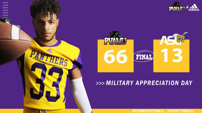 FINAL SCORE: #PVAMUFootball 66 vs ASU 13 CLICK TO WATCH post game show from the Hill Photo