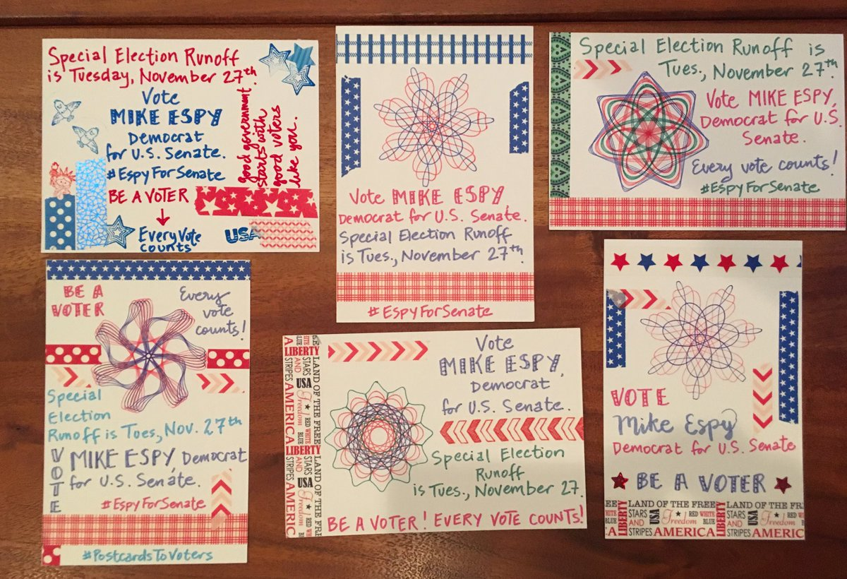Saturday's six #PostcardsToVoters for Mike Espy #EspyForSenate Hope MS voters remember on Nov 27 that #EveryVoteCounts #BeAVoter <br>http://pic.twitter.com/D5Fzlxaw8n