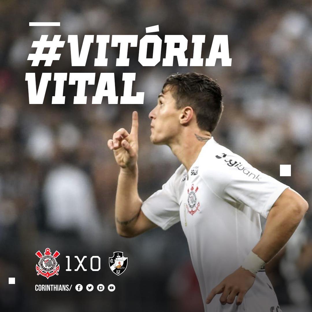 #VitóriaVital  Com gol de Mateus Vital, Corinthians bate Vasco por 1 a 0 na @A_Corinthians e chega aos 43 pontos no #Brasileirão! O próximo compromisso do Alvinegro acontece na quarta-feira, contra o Atlético-PR, na Arena da Baixada.  #VaiCorinthians
