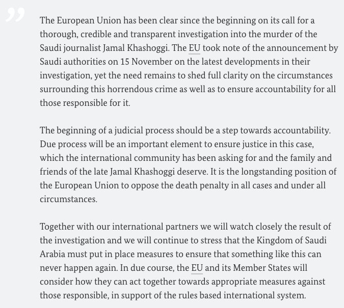 AM @HeikoMaas und seine europäischen Amtskollegen haben Erklärung von @FedericaMog im Namen der EU zu Jamal #Khashoggi vereinbart: Haben Bekanntgabe der saudischen Behörden zur Kenntnis genommen, trotzdem weitere Klärung zu Umständen des schrecklichen Verbrechens notwendig.