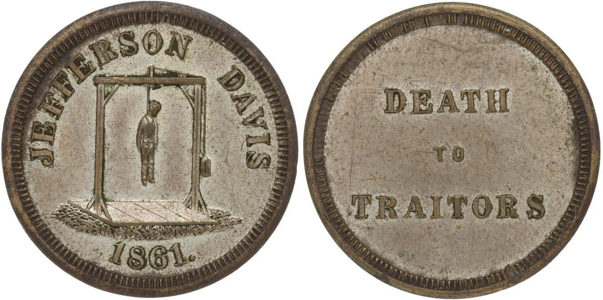 Civil War anti-confederacy coin, 1861, print reads &quot;Death To Traitors Jefferson Davis&quot;   This medal was struck in reaction to the secession of the Confederacy and the election of its President, Jefferson Davis, by the Scovill Manufacturing Company of Waterbury, Connecticut. <br>http://pic.twitter.com/EsP6Jg6zdE