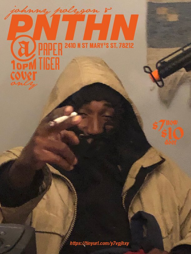 WE PLAYING W/ JOHNNY POLYGON TOMORROW SUNDAY NOV. 18TH IN SAN ANTONIO @ PAPER TIGER  DOORS @ 8PM  TIX $7 ONLINE $10 DAY OF COP HERE:  https:// tinyurl.com/PNTHNPOLYGON  &nbsp;  <br>http://pic.twitter.com/2WdpnXZeOE
